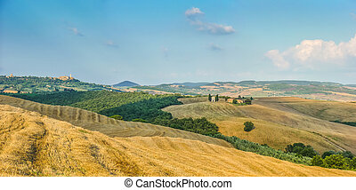 Tuscany, landscape, with, rolling, hills, at, sunset, Val,...