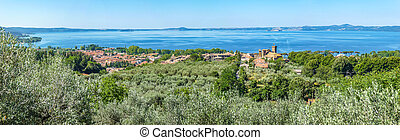 Panoramic view of Lake Bolsena, province of Viterbo, Lazio,...