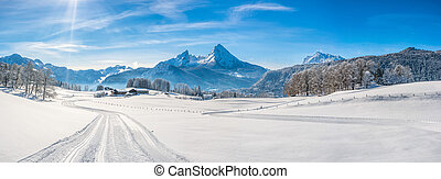 Winter landscape in the Bavarian Alps with Watzmann massif,...