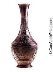 Ceramic vase - a decorated ceramic vase isolated over a...