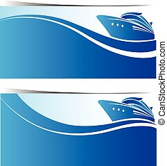Cruise ship banners ,vector illustration