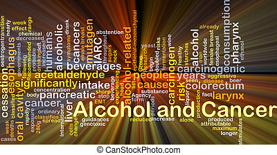 Alcohol and cancer background concept glowing - Background...