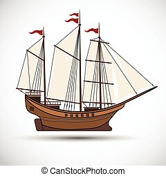 Sailing ship - sailing ships color,Vector illustration