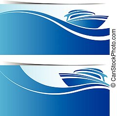 Yacht boat banners ,vector illustration