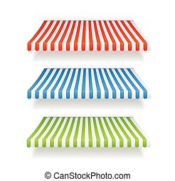Vector colorful awnings for shop set - Vector illustration...