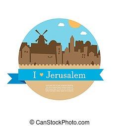 skyline of old city of Jerusalem - skyline of old and holy...