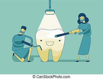 Dentist doing a dental treatment