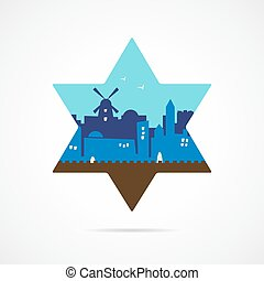 Jerusalem Israel skyline silhouette flat design inside david...