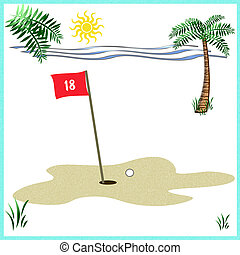 golf on the beach - red golf flag and tropical frame...