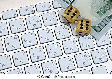 Computer Keyboard Close-up, Gaming Dices And Dollar Cash