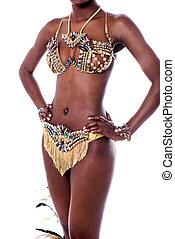 Mid section of samba dancer. - Cropped image of a woman...