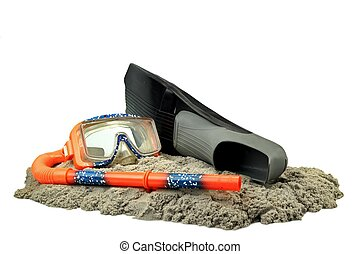Scuba Diving Equipment On The Sea Beach Sand Isolated On...
