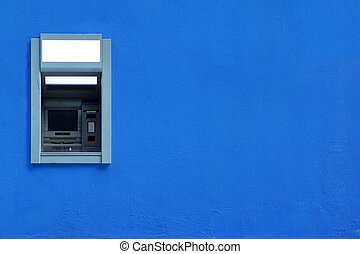 ATM Or ABM Or Cashpoint Machine Byilt-In The Blue Wall - ATM...