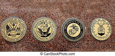 Symbols of USA Military Army Navy Airforce Marines - Detail...