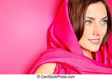 nature pink - Beauty portrait of a positive young woman in...