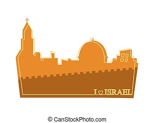 View on the landmarks of Jerusalem Old City illustration