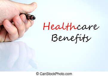 Healthcare benefits Text Concept - Healthcare benefits text...