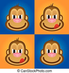 monkey vector, cute monkey, funny
