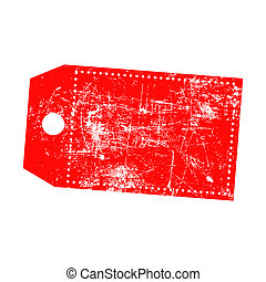 illustration vector grunge stamp of empty red price tag with...