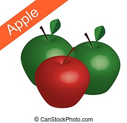 red and green apple in white bg