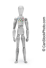 Wood figure mannequin with flag bodypaint - Olympic Rings -...