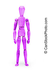 Wood figure mannequin with bodypaint - Purple - Wood figure...
