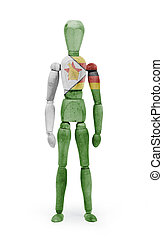 Wood figure mannequin with flag bodypaint - Zimbabwe - Wood...