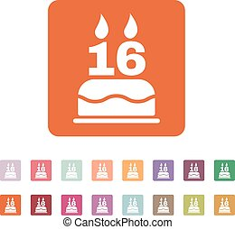 The birthday cake with candles in the form of number 16 icon...
