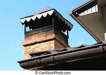 brick chimney on the roof - Close up brick chimney on the...
