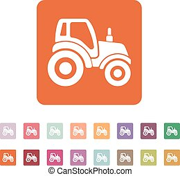 The tractor icon Agrimotor symbol Flat Vector illustration...
