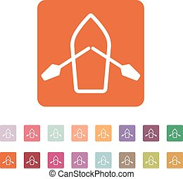 The boat and oars icon Skiff And Paddle symbol Flat Vector...
