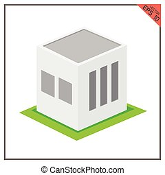 building vector 3d warehouse icon green on white background