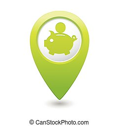 Map pointer with piggy bank icon Vector illustration