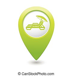 Green map pointer with beach chair