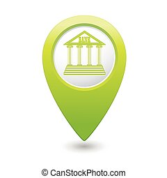 Map pointer with bank building icon. Vector illustration