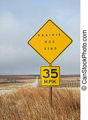 Prairie Dog Crossing Sign - vertical image of prairie dog...