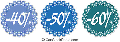 Winter discount 40-60 - 40-60 price tags of snowflakes,...