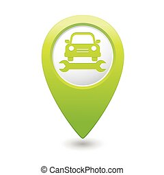 Car service. Car with tool icon on green map pointer. Vector...