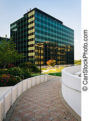 Walkway and modern building in Rosslyn, Arlington, Virginia