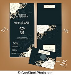 All in One Wedding Invitation with White Flowers. Seal and...