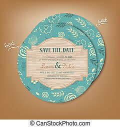 Vintage Round Save the Date Card