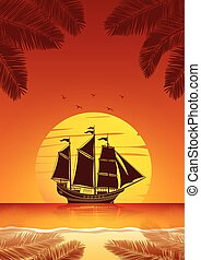 Sailing Ship background - Silhouette sailing ship on Sea at...