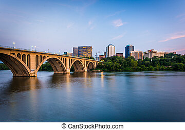 The Key Bridge over the Potomac River and Rosslyn skyline,...