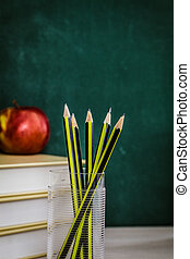 Student supplies - School objects for students. Chalkboard,...