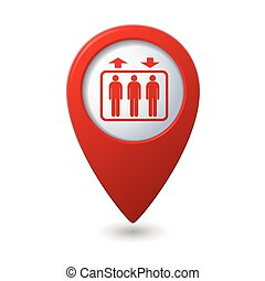 Map pointer with elevator icon Vector illustration