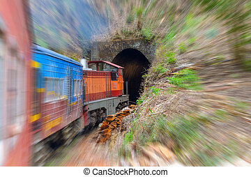 Traveling in Sri Lanka by train, blurred motion - Commuter...