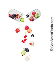 Medical capsule with berries within and falling berries...
