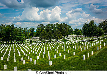 Rows of graves at the Arlington National Cemetery, in...