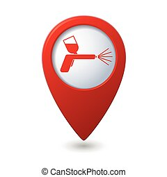 Map pointer with spray gun icon. Vector illustration
