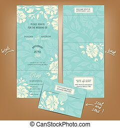 All in One Wedding Invitation with White Vintage Flowers....